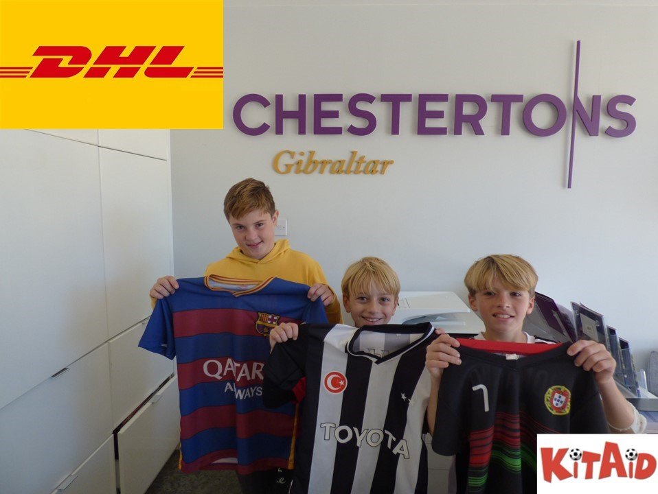 Chestertons Gibraltar collects 490 football shirts for charity Image