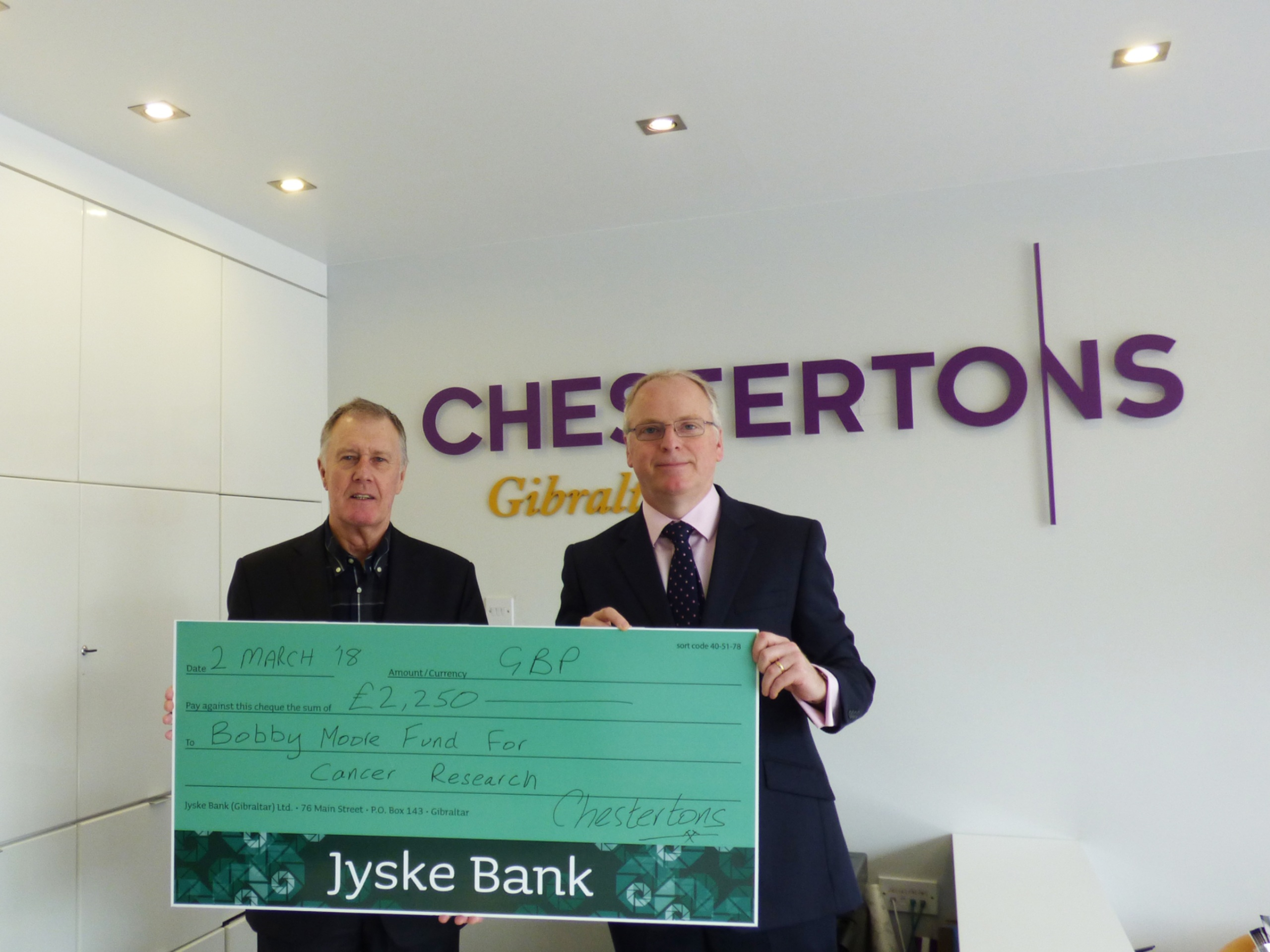 Chestertons' 10th anniversary raises £4,500 for cancer charities Image